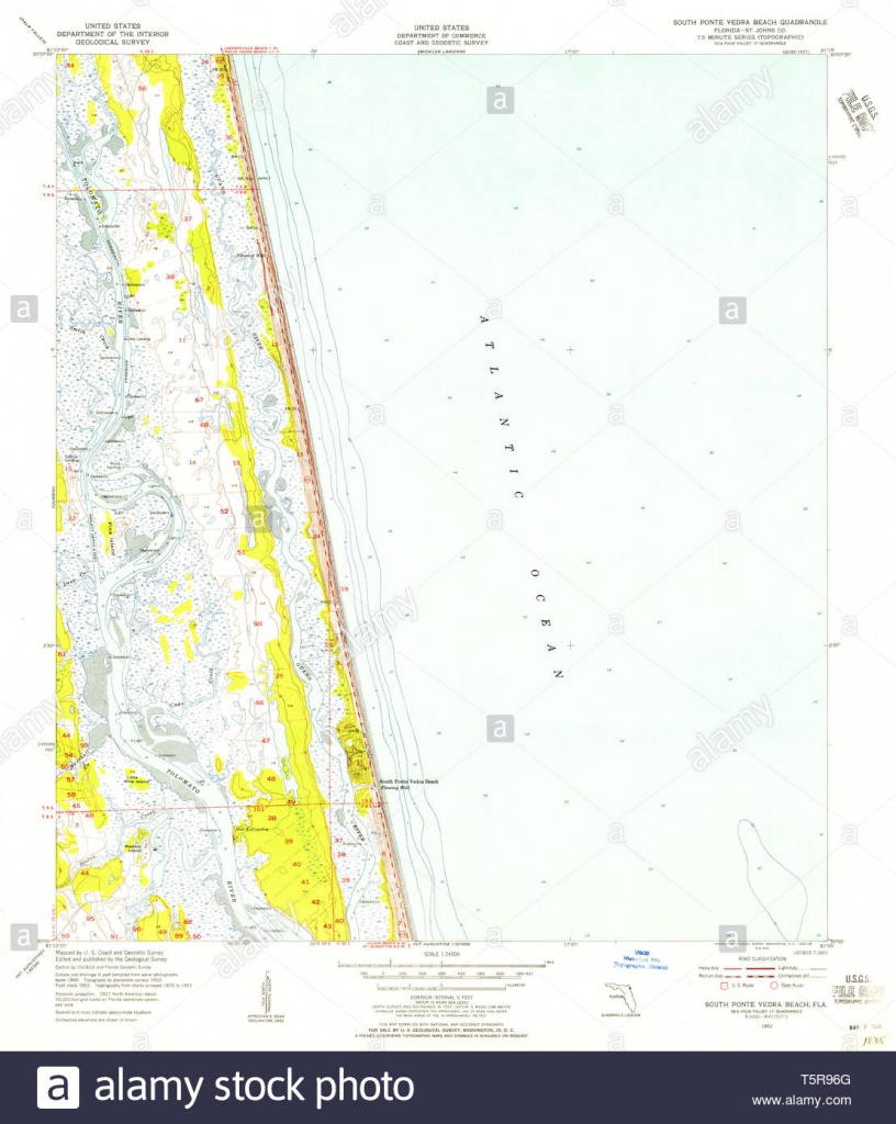 Usgs Topo Map Florida Fl South Ponte Vedra Beach 348580 1952 24000 - Ponte Vedra Florida Map