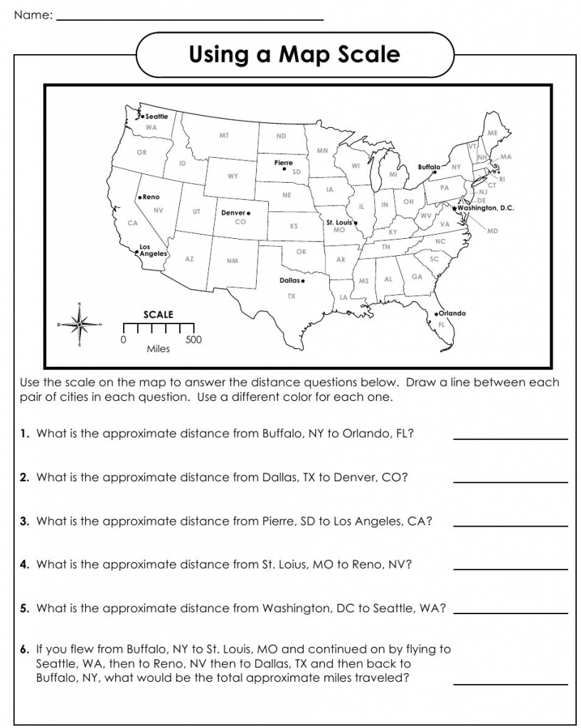 Using A Map Scale Worksheets | Geography | Map Skills, Social - 6Th Grade Map Skills Worksheets Printable