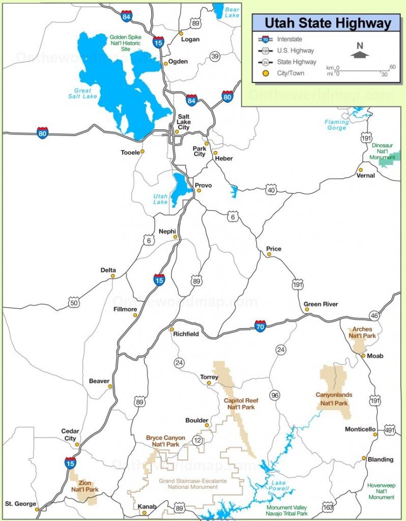 Utah State Maps   Usa   Maps Of Utah (Ut) - Printable Map Of Utah