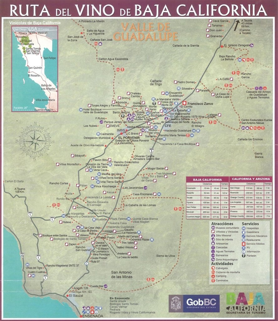 Valle De Guadalupe Wineries - Maplets - Guadalupe California Map