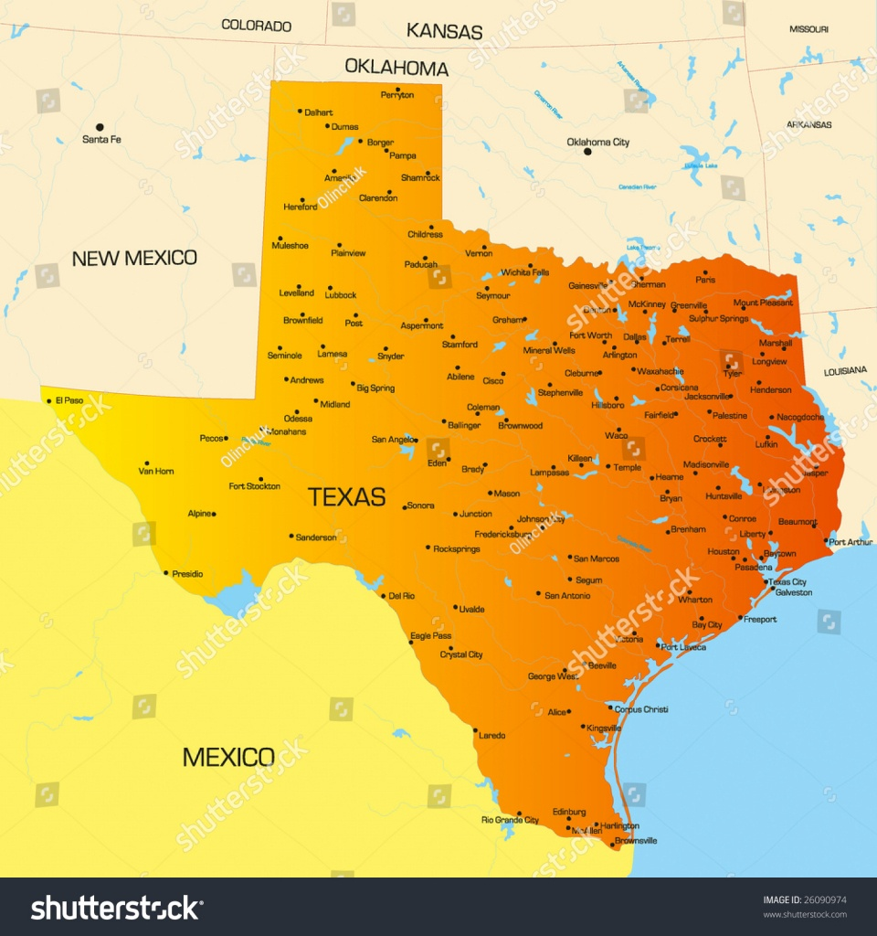 Vector Color Map Texas State Usa Image Vectorielle De Stock (Libre - Alice Texas Map