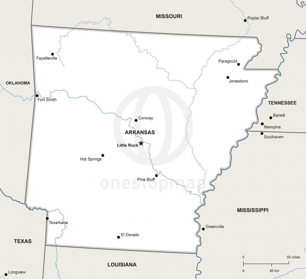 Vector Map Of Arkansas Political | One Stop Map - Printable Map Of Arkansas