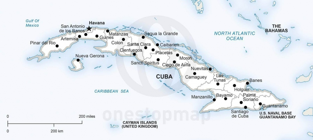 Vector Map Of Cuba Political | One Stop Map - Printable Outline Map Of Cuba