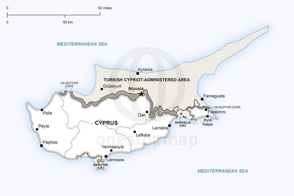 Vector Map Of Cyprus Political | One Stop Map - Printable Map Of Cyprus