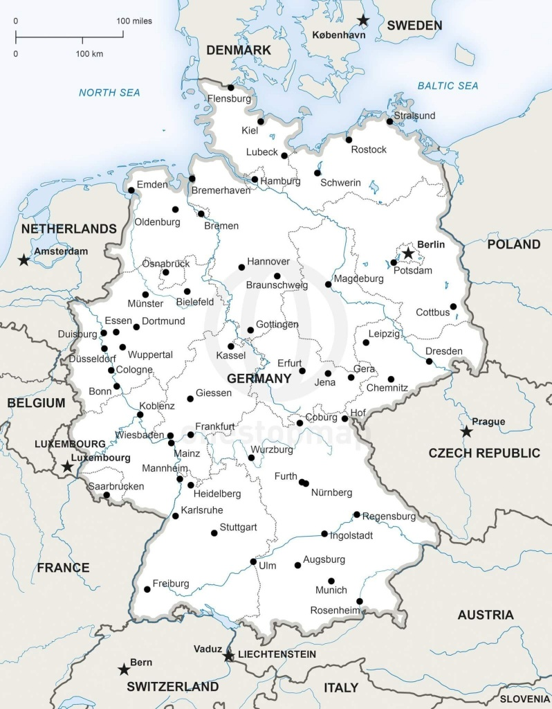 Vector Map Of Germany Political | One Stop Map - Printable Map Of Germany