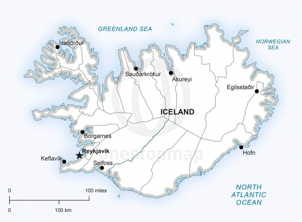 Vector Map Of Iceland Political   One Stop Map - Free Printable Map Of Iceland