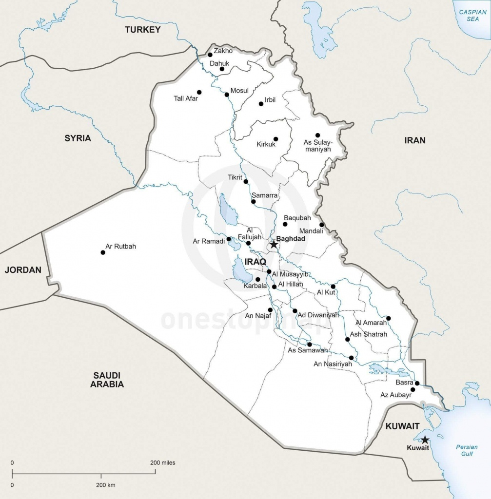 Vector Map Of Iraq Political | One Stop Map - Printable Map Of Iraq