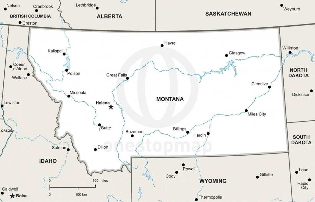 Vector Map Of Montana Political   One Stop Map - Printable Map Of Montana
