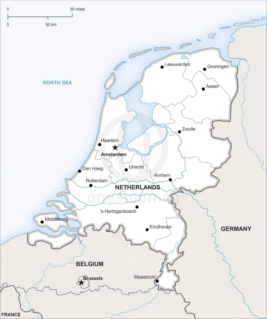 Vector Map Of Netherlands Political | One Stop Map - Printable Map Of The Netherlands