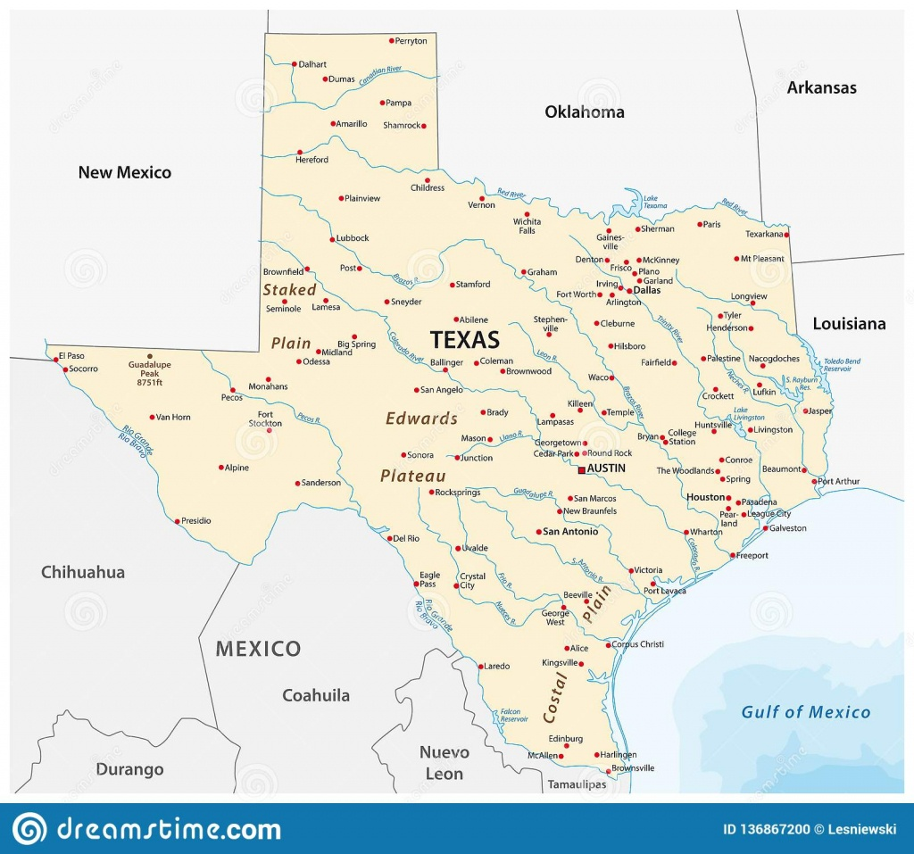 Vector Map Of The U.s. State Of Texas Stock Vector - Illustration Of - Alpine Texas Map