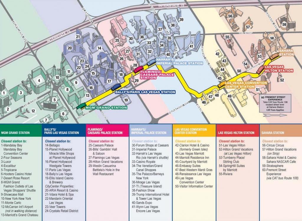 Vegas Monorail Map 2012 |  Vegas Convention Center Station Las - Printable Map Of Las Vegas Strip With Hotel Names