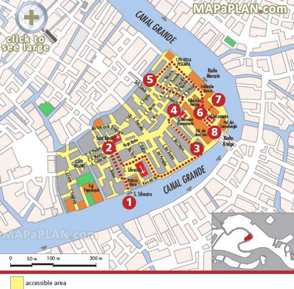 Venice Maps - Top Tourist Attractions - Free, Printable City Street Map - Venice Printable Tourist Map