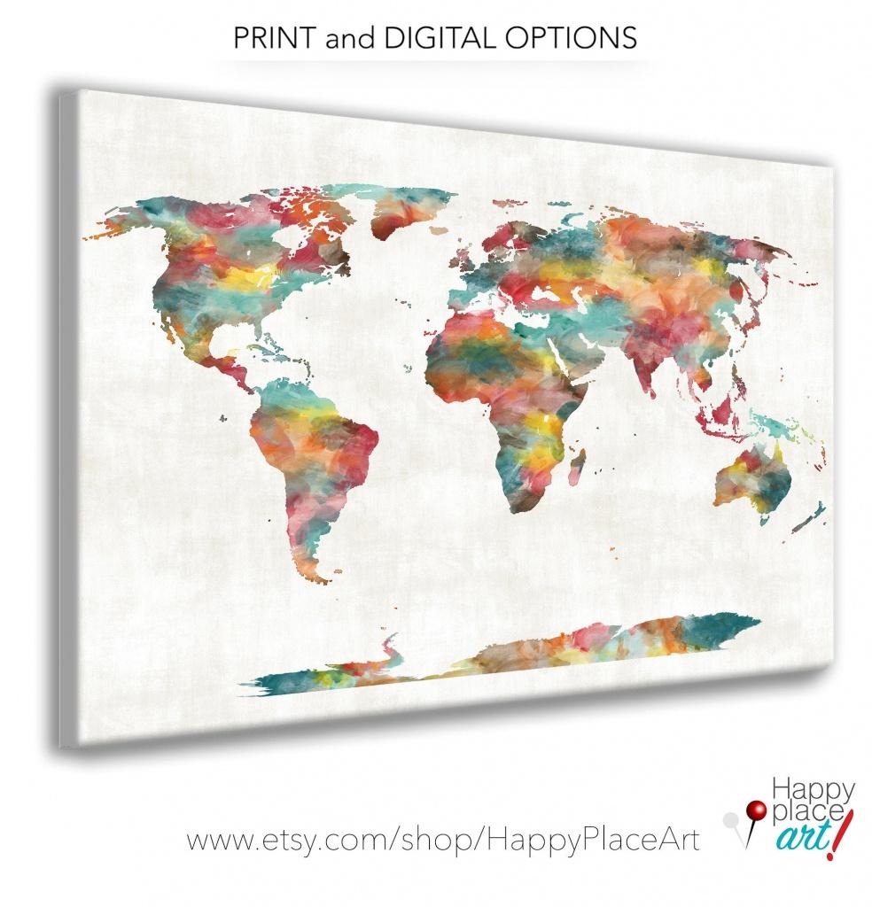 Very Large Custom World Map Print Or Printable World Map Art | Etsy - Large Printable World Map
