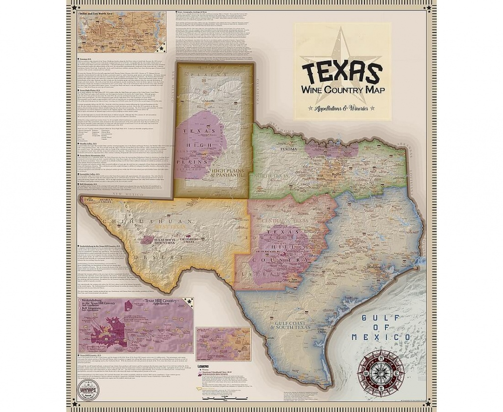 Vinmaps Texas Wine Country Map, Appellations & Wineries Review - North Texas Wine Trail Map