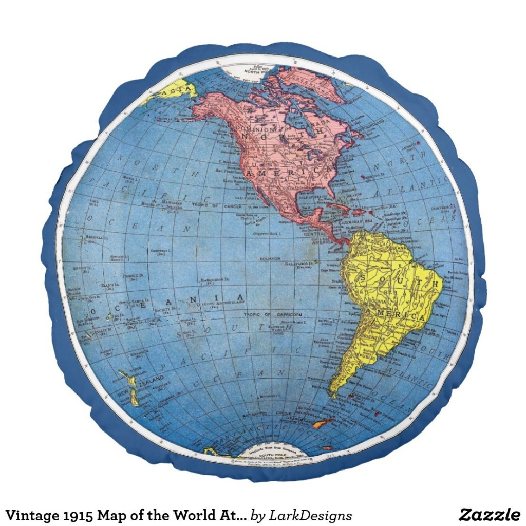 Vintage 1915 Map Of The World Atlas Globe Round Pillow | Zazzle - Round World Map Printable