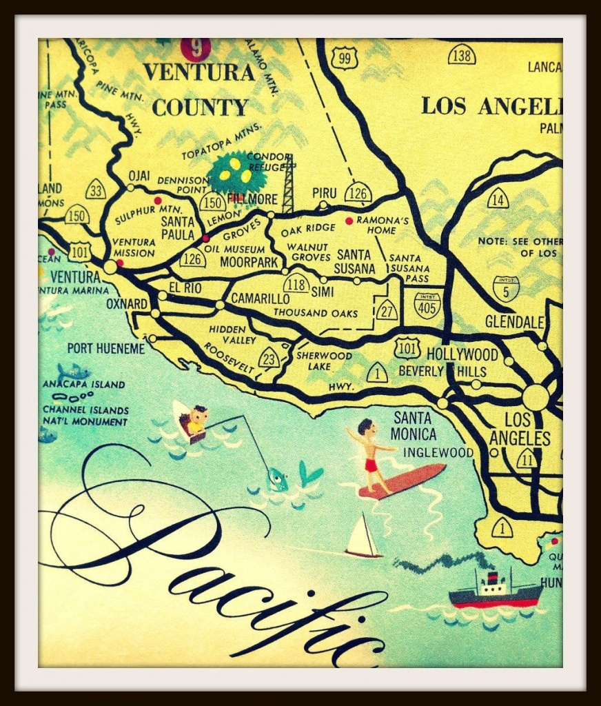 Vintage California Art, Los Angeles Map, Santa Monica Map, Ventura - Map Of Mid California