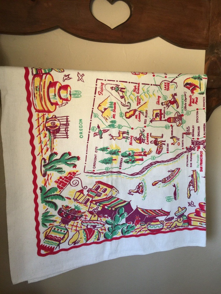 Vintage California State Souvenir Tablecloth With Map (Pre Disney - Vintage California Map Tablecloth