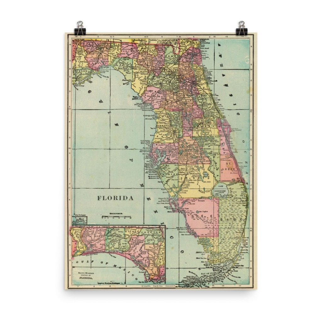 Vintage Florida Map 1909 Fl Colorful Counties Atlas Poster | Etsy - Vintage Florida Map Poster