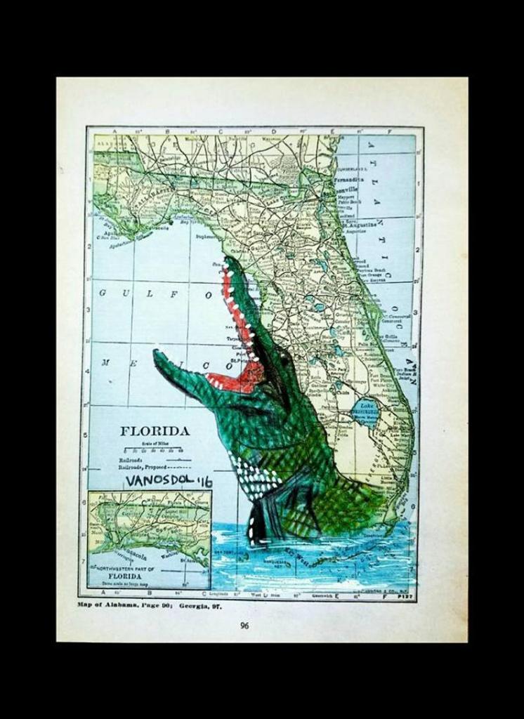 Vintage Florida Map Alligator Wildlife Coastal Gator Art Print Scott D Van  Osdol 11X17 Poster Of My Original Ocean Sea Everglades Reptile - Alligators In Florida Map