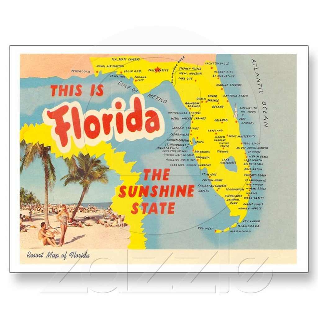 Vintage Florida Map Postcard | Everything Naples, Florida - Panama Beach Florida Map