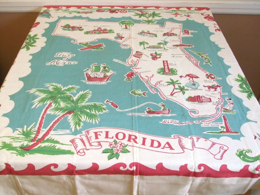 Vintage Florida Map Tablecloth | Mapping Our Worlds | Vintage - Vintage Florida Map Tablecloth