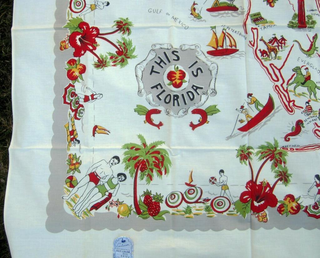 Vintage Florida State Map Souvenir Tablecloth 54X54 Nos W Label - Vintage Florida Map Tablecloth