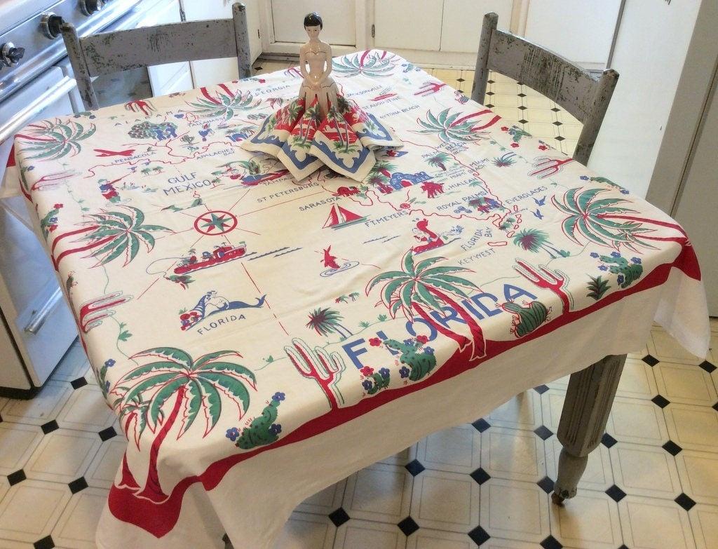 Vintage Florida Tablecloth & Napkins Fab 1940's State Map | Etsy - Vintage Florida Map Tablecloth