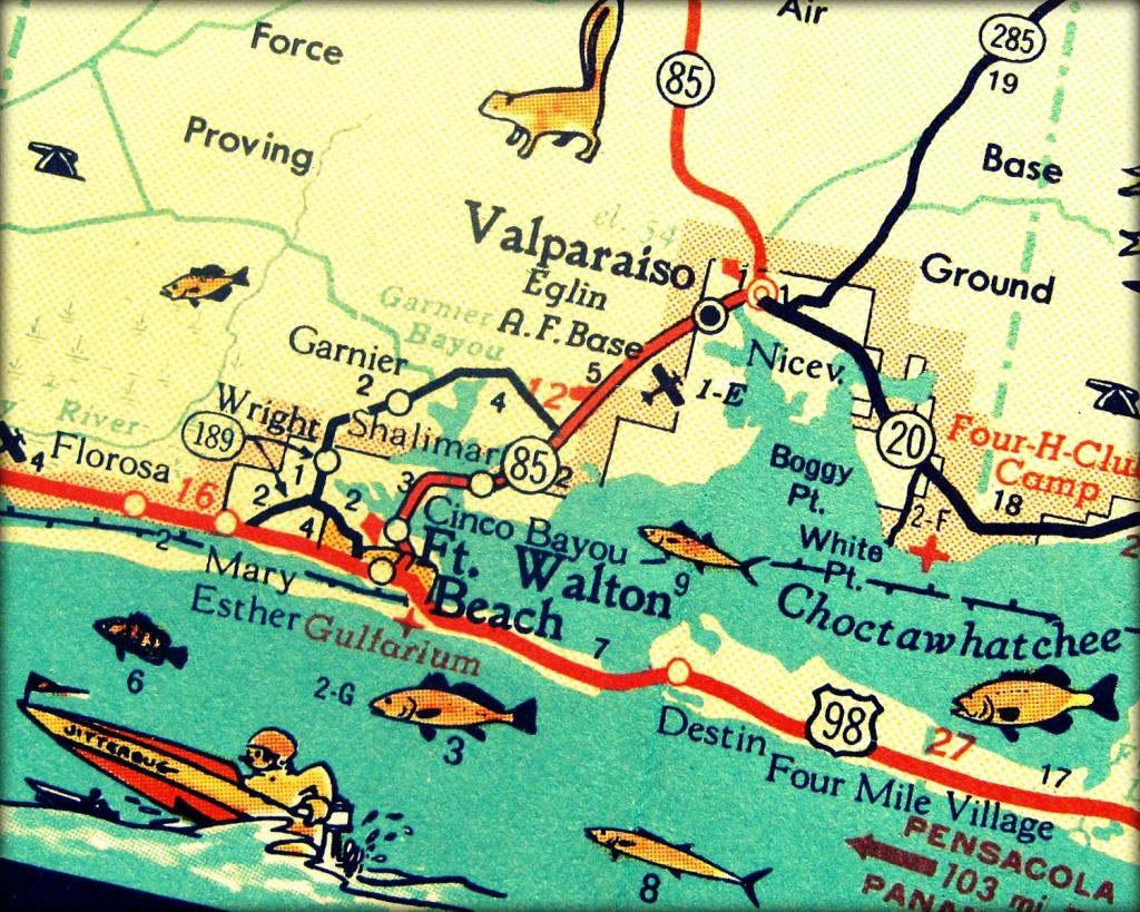 Vintage Map Art Of Destin Florida 8X10 Retro Map Ft Walton Beach - Ft Walton Florida Map