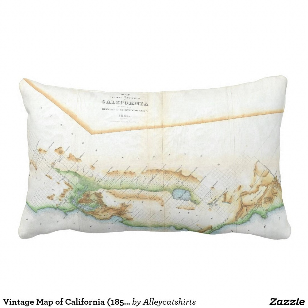 Vintage Map Of California (1854) Pillow   Pillows - California Map Pillow