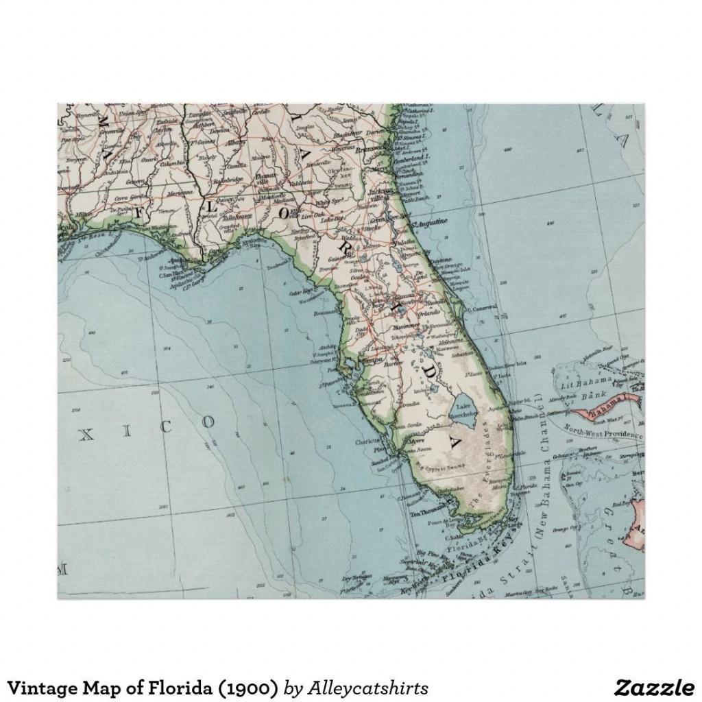 Vintage Map Of Florida (1900) Poster | Zazzle | Vintage Map - Florida Map 1900
