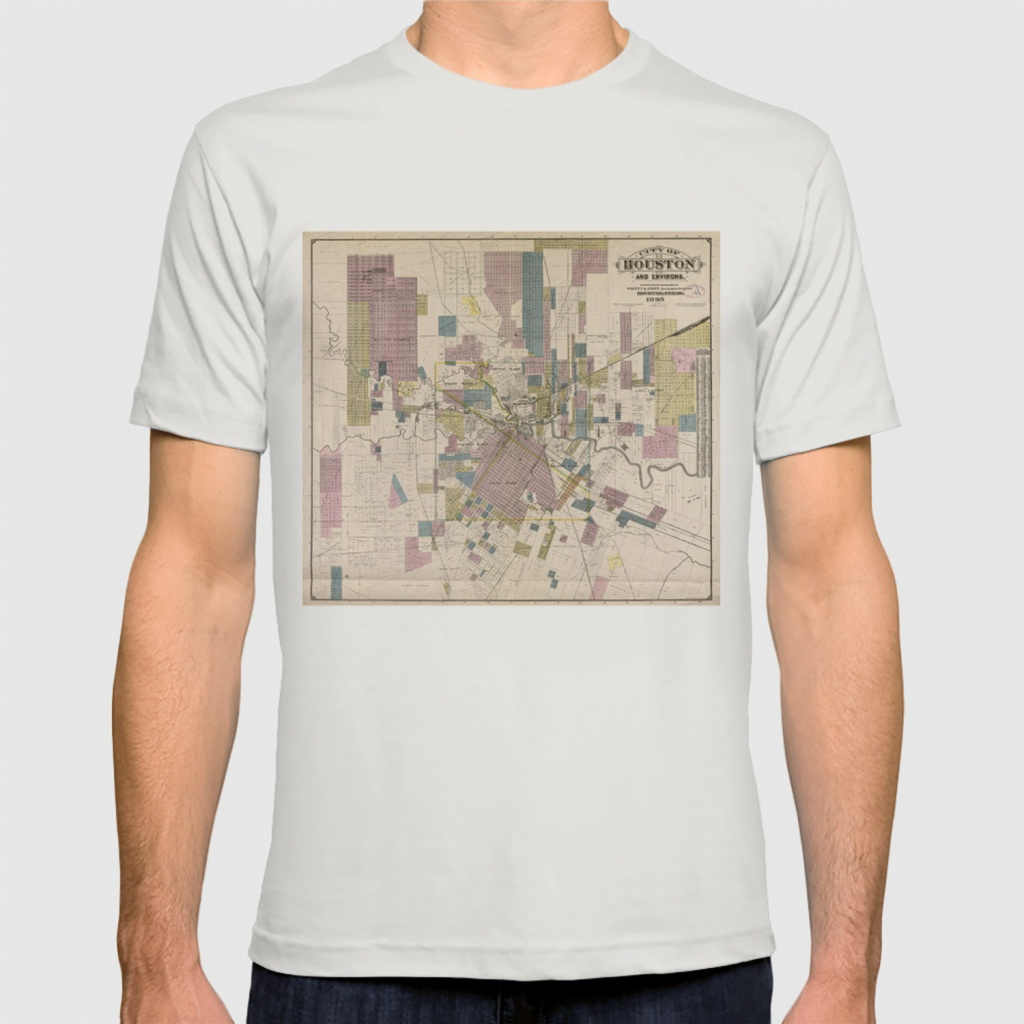 Vintage Map Of Houston Texas (1895) T-Shirtbravuramedia | Society6 - Texas Not Texas Map T Shirt