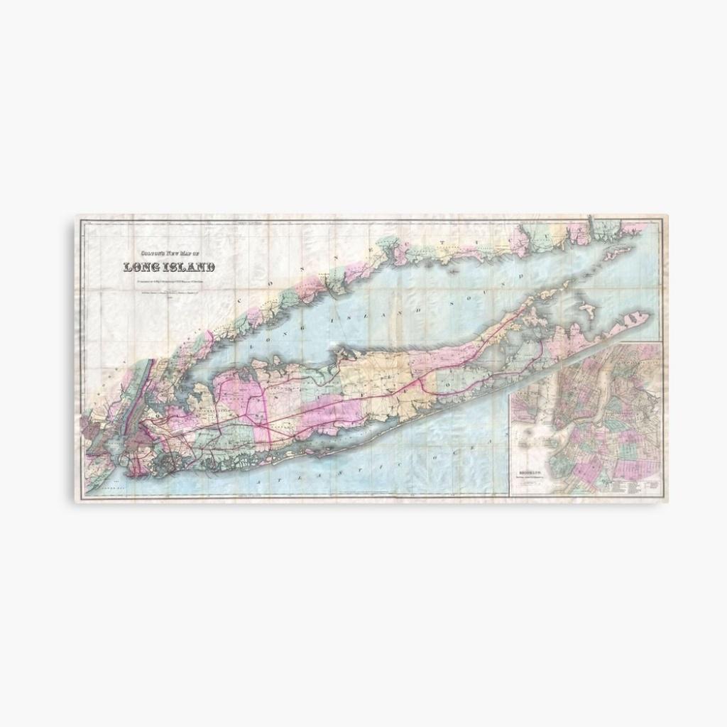 """Vintage Map Of Long Island (1880) """" Metal Printbravuramedia - Printable Map Of Long Island"""