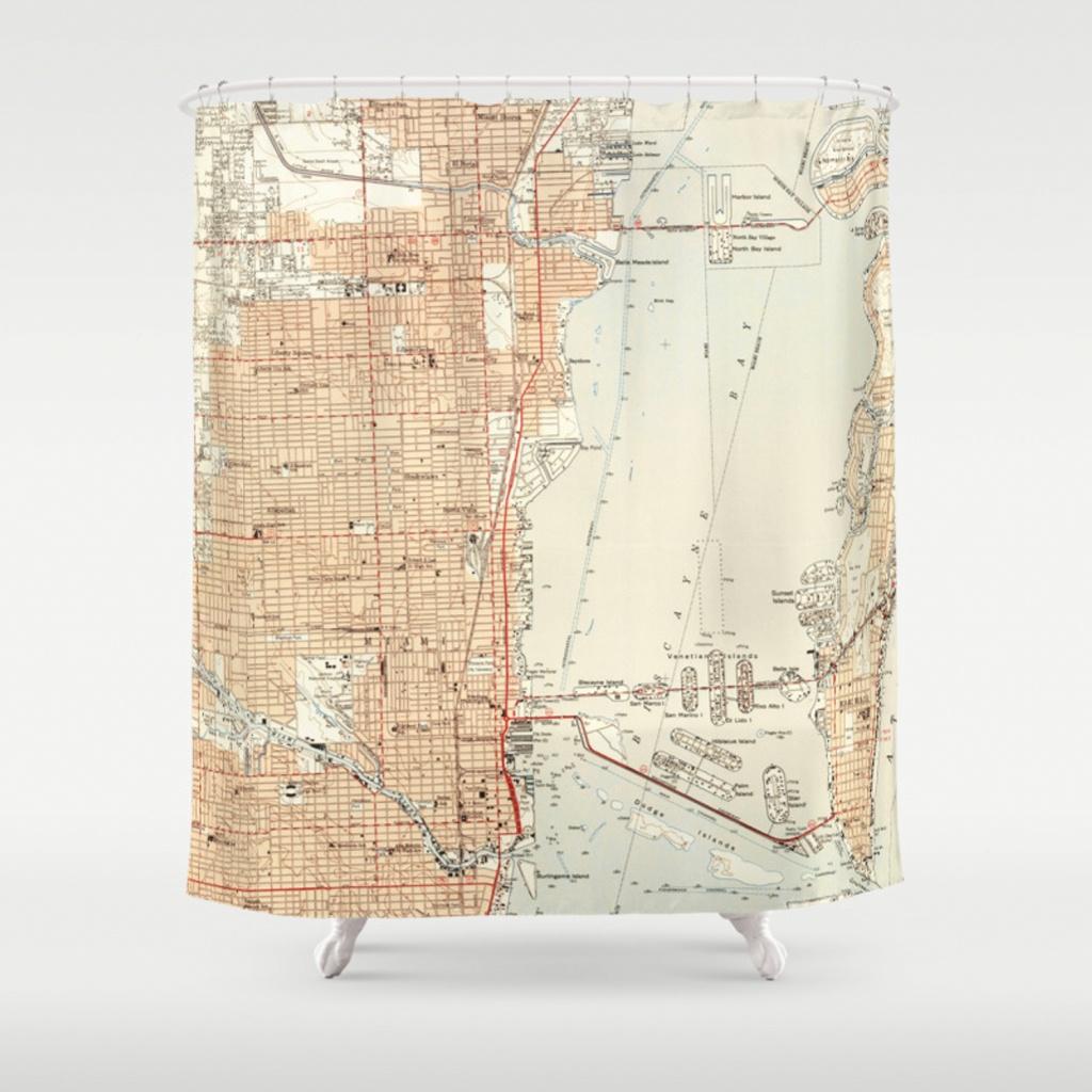 Vintage Map Of Miami Florida (1950) Shower Curtainbravuramedia - Florida Map Shower Curtain