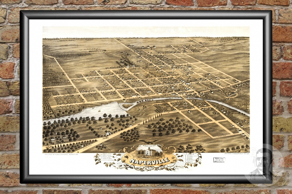 Vintage Map Of Naperville, Illinois 1869 - Ted's Vintage Art - Printable Map Of Naperville Il