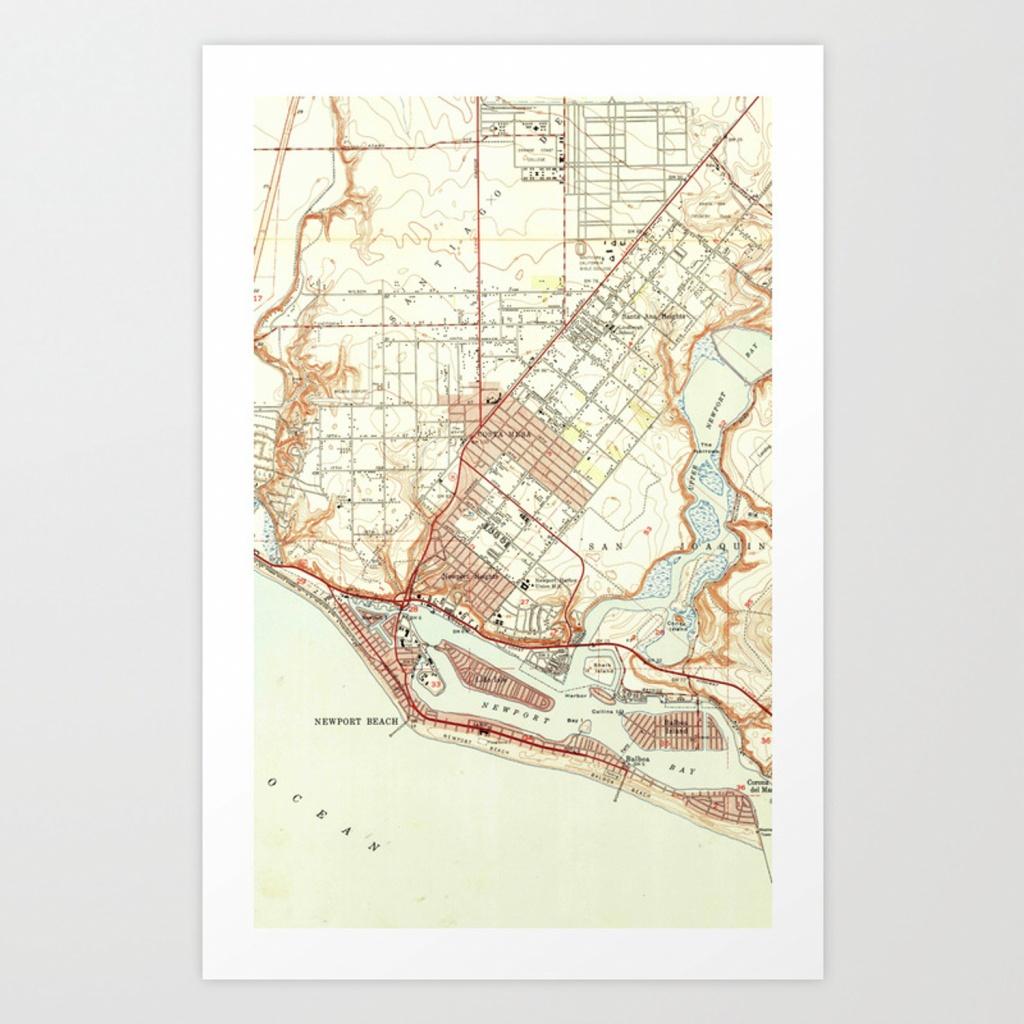 Vintage Map Of Newport Beach California (1951) Art Print - Newport California Map