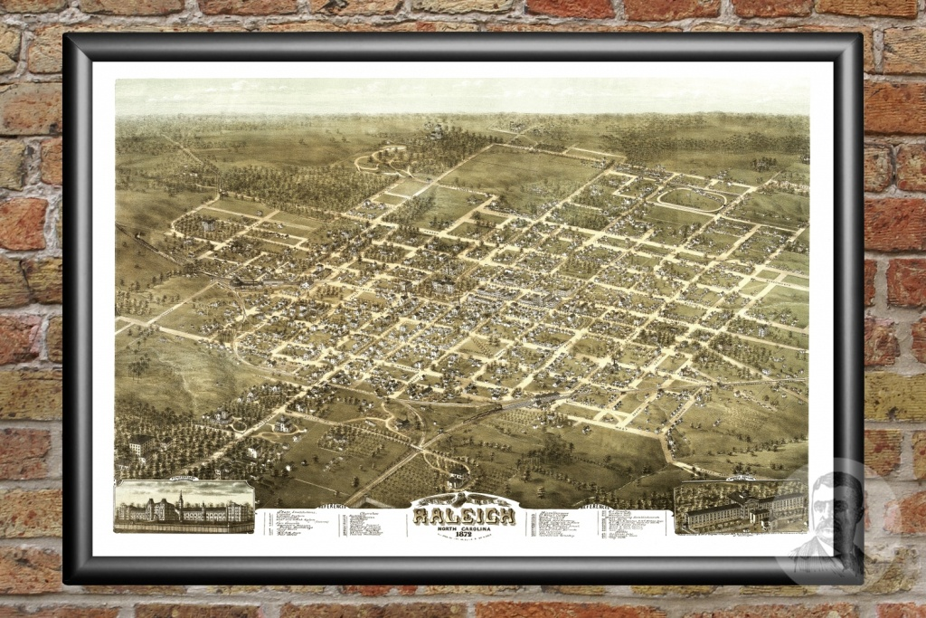 Vintage Map Of Raleigh, North Carolina 1872 - Ted's Vintage Art - Printable Map Of Raleigh Nc