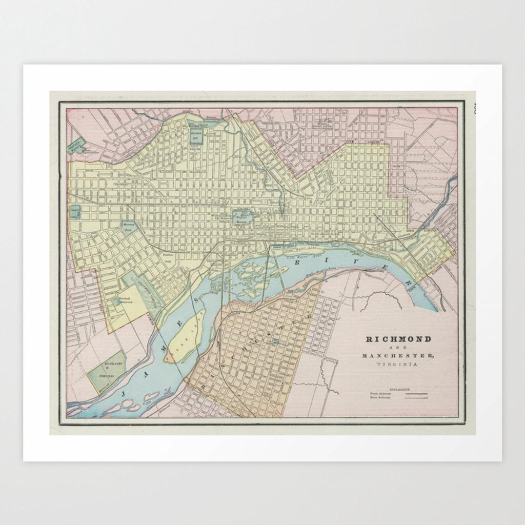 Vintage Map Of Richmond Va (1901) Art Printbravuramedia   Society6 - Printable Map Of Richmond Va
