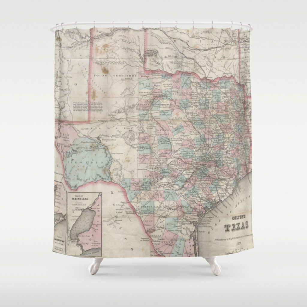 Vintage Map Of Texas (1870) Shower Curtainbravuramedia | Society6 - Texas Map Shower Curtain