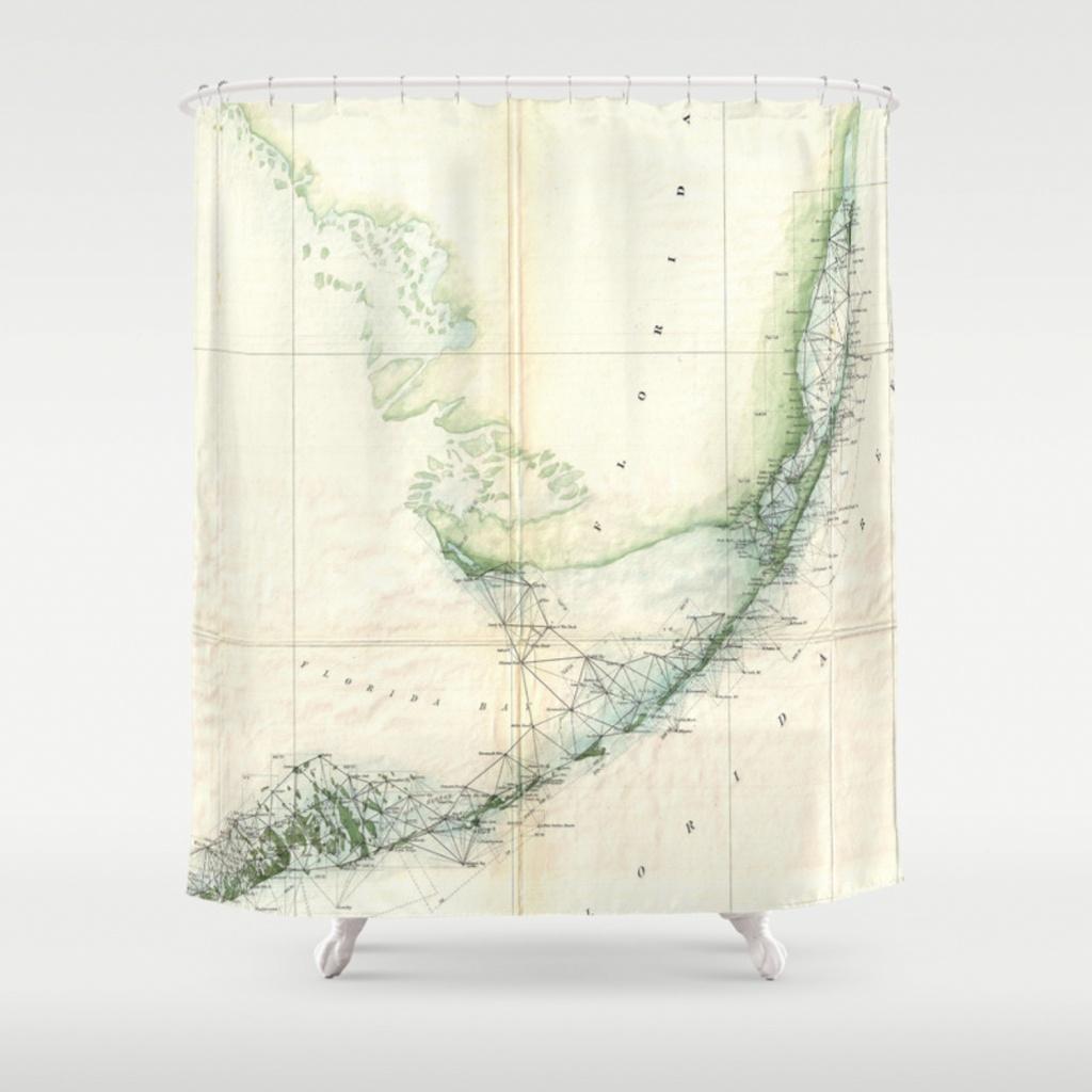 Vintage Map Of The Florida Keys (1859) Shower Curtain - Florida Map Shower Curtain