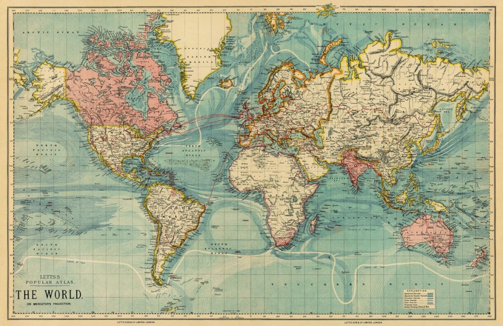 Vintage Map Of The World 30 X 46.5 Print Onancientshades | Old - Vintage World Map Printable