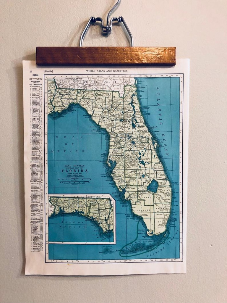 Vintage Maps Of Florida And Connecticut Original Antique Atlas   Etsy - Vintage Florida Maps For Sale