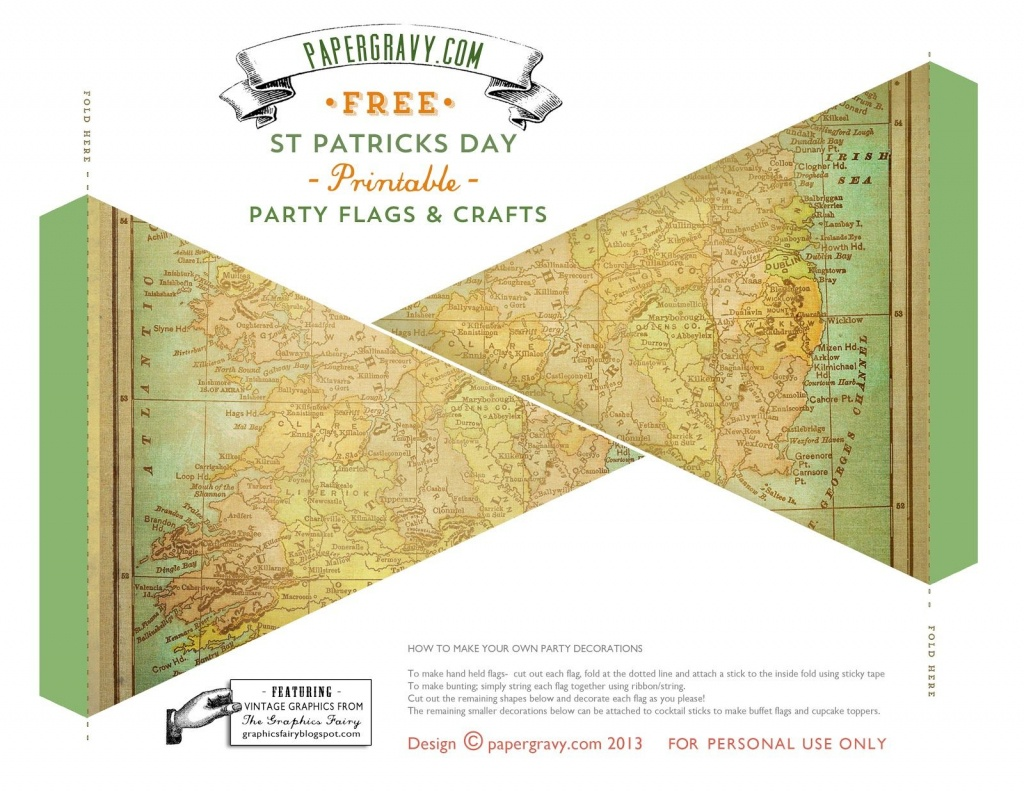 Vintage Printables - St. Patrick's Day - Flags - Buntings - Stickers - Printable Map Banner
