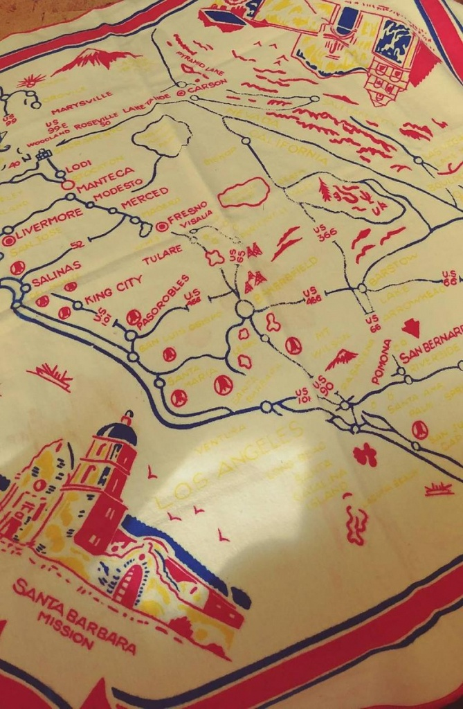 Vintage Soft Felt California Map Table Cloth | Etsy - Vintage California Map Tablecloth