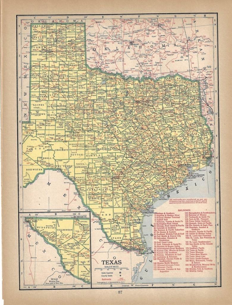Vintage Texas Map 1944 Wall Art Sepia Map   Etsy - Vintage Texas Map