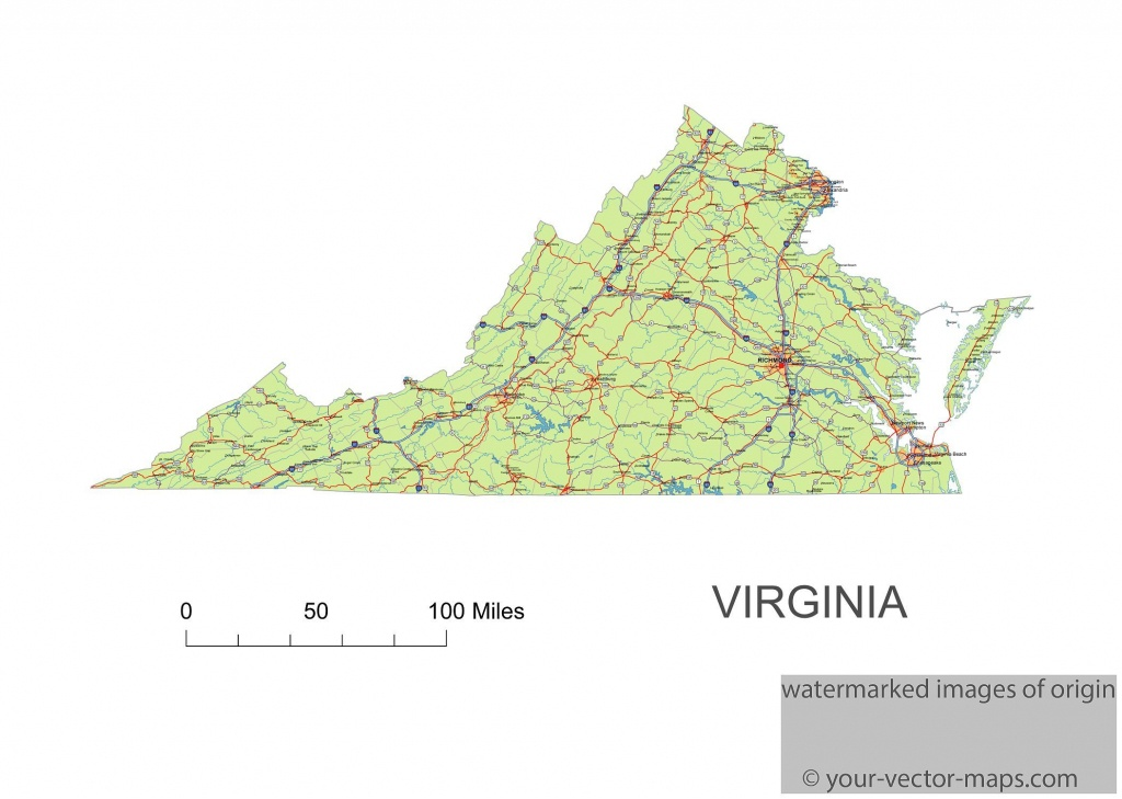 Virginia State Route Network Map. Virginia Highways Map. Cities Of - Virginia State Map Printable