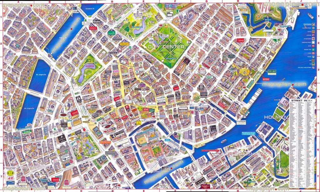 Virtual Interactive 3D Copenhagen Denmark City Center Free Printable - Printable Tourist Map Of Copenhagen