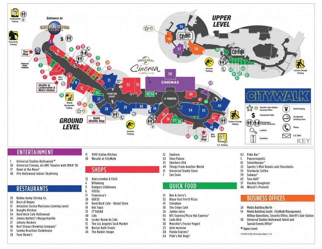 Visitor Map | Citywalk Hollywood - Universal Studios Map California 2018