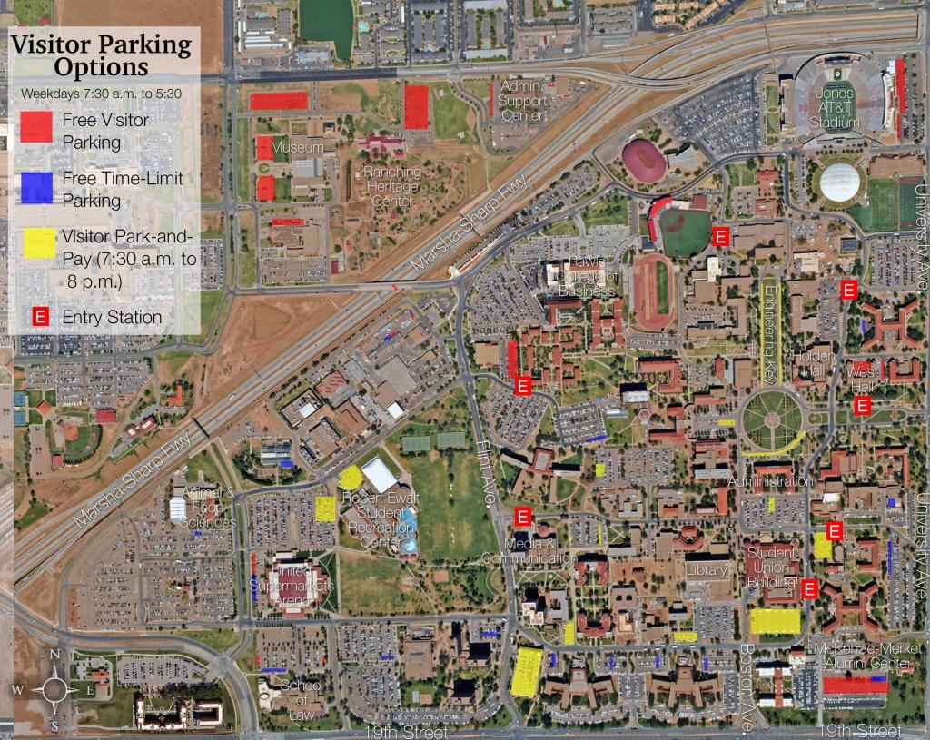 Visitor Parking Map | Transportation & Parking Services | Ttu - Texas Tech Housing Map