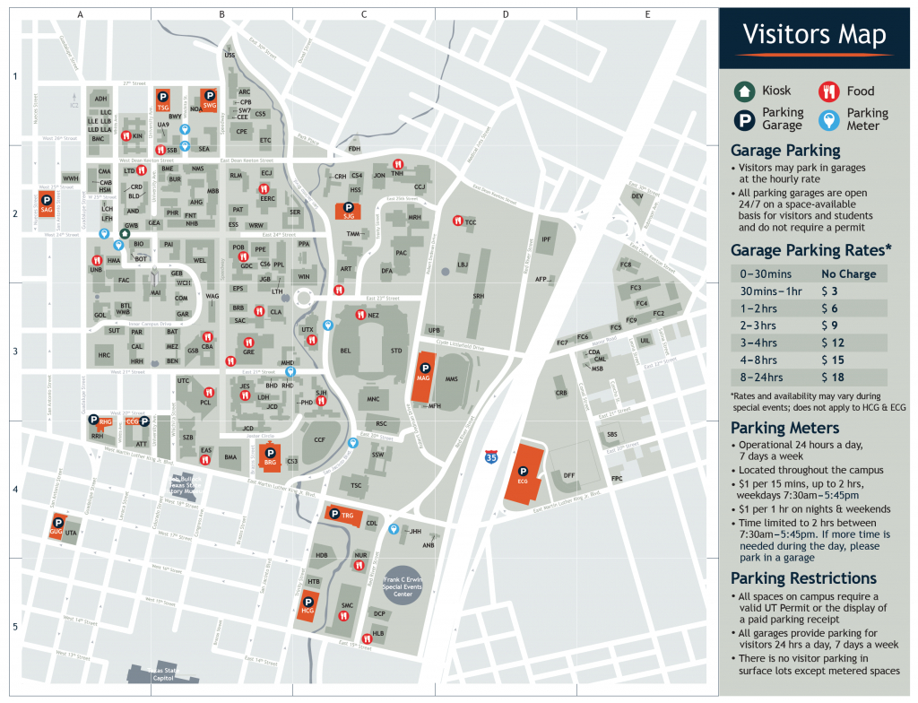 Visitor's Map | Parking & Transportation | The University Of Texas - Printable Map Of Austin