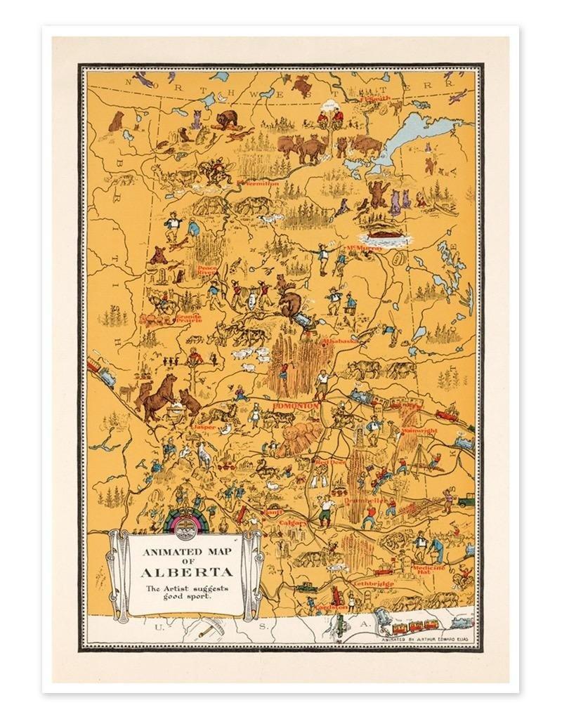 Vivid Print Animated Map Of Alberta, 1929 - Printable Map Of Alberta